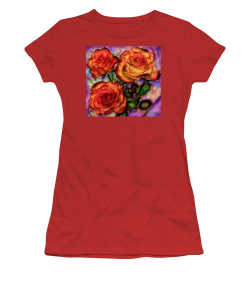 Women's T-Shirt (Junior Cut) featuring the digital art Red Roses In Water - Silk Edition by Lilia D