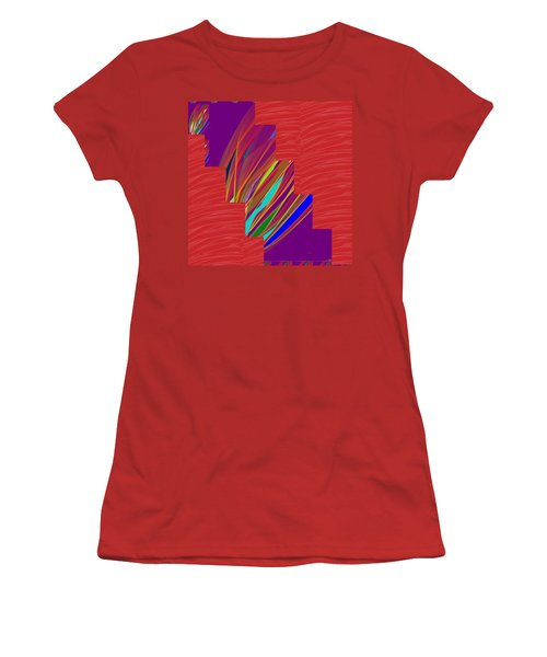 Women's T-Shirt (Junior Cut) featuring the photograph Red Sparkle And Blue Lightening Across by Navin Joshi