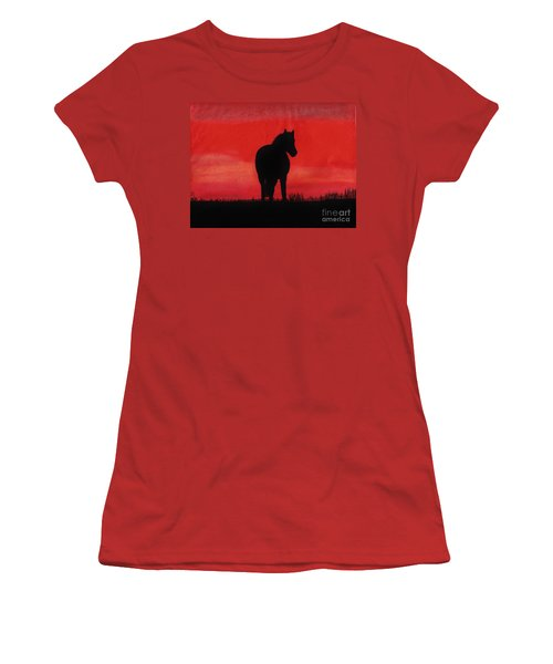 Red Sunset Horse Women's T-Shirt (Junior Cut) by D Hackett