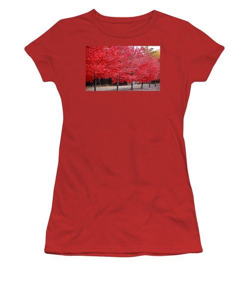 Red Tree Line Women's T-Shirt (Athletic Fit)