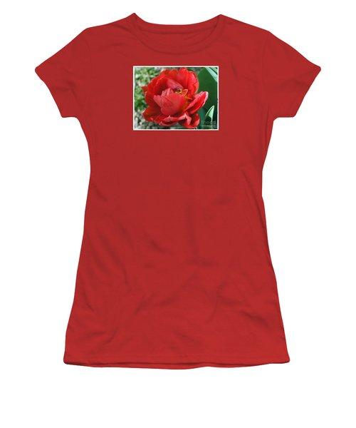 Women's T-Shirt (Junior Cut) featuring the photograph Red Tulip by Vesna Martinjak
