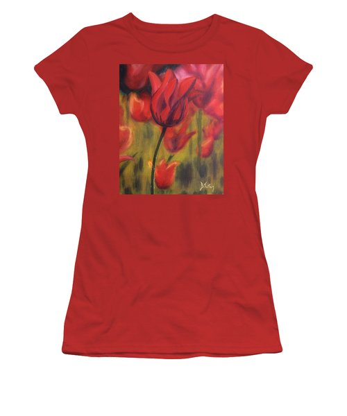 Women's T-Shirt (Junior Cut) featuring the painting Red Tulips by Donna Tuten