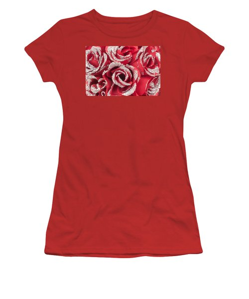 Women's T-Shirt (Junior Cut) featuring the photograph Red Valentines Day Roses by Gunter Nezhoda
