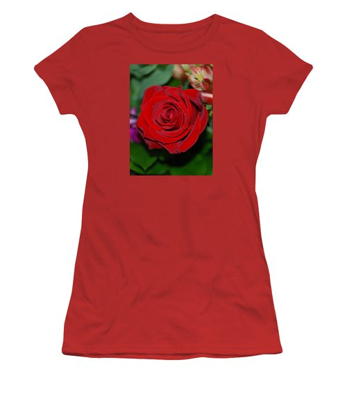 Red Velvet Rose Women's T-Shirt (Junior Cut) by Connie Fox