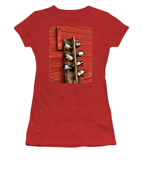 Women's T-Shirt (Junior Cut) featuring the photograph Rustic Wine Rack by Jean Goodwin Brooks