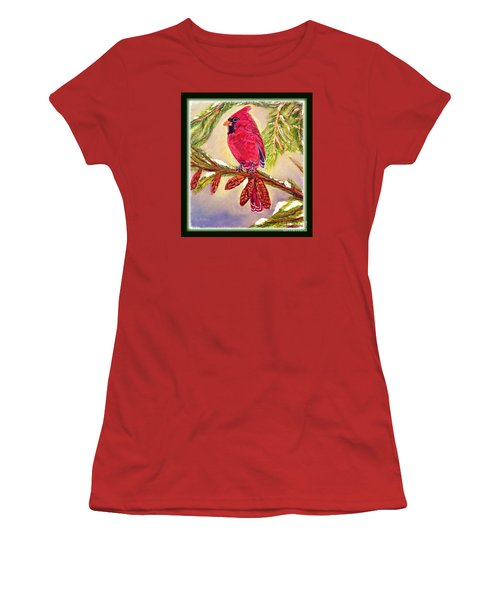 Women's T-Shirt (Junior Cut) featuring the painting Singing The Good News With Border by Kimberlee Baxter