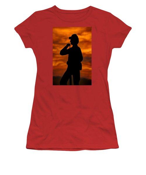Women's T-Shirt (Junior Cut) featuring the photograph Sky Fire - Flames Of Battle 7th Pennsylvania Reserve Volunteer Infantry-a1 Sunset Antietam by Michael Mazaika