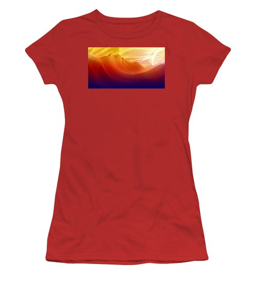 Women's T-Shirt (Junior Cut) featuring the photograph Somewhere In America Series - Colorful Light In Antelope Canyon by Lilia D