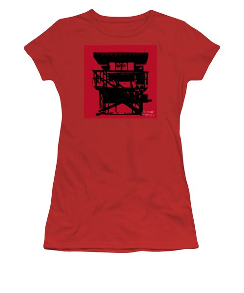 Women's T-Shirt (Junior Cut) featuring the digital art South Beach Lifeguard Stand by Jean luc Comperat