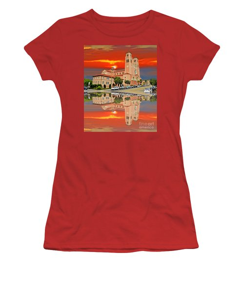 St Anne Church Of The Sunset In San Francisco With A Reflection  Women's T-Shirt (Junior Cut) by Jim Fitzpatrick