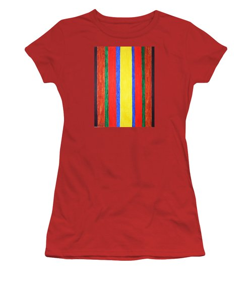 Women's T-Shirt (Junior Cut) featuring the painting Vertical Lines by Stormm Bradshaw