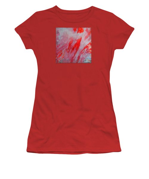 Women's T-Shirt (Junior Cut) featuring the painting Strawberry Ice Cream by Dragica  Micki Fortuna
