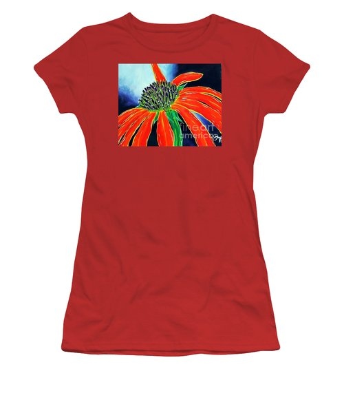 Women's T-Shirt (Junior Cut) featuring the painting Summer Kissed Cone Flower by Jackie Carpenter