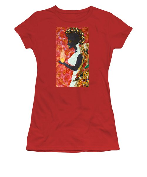 Women's T-Shirt (Junior Cut) featuring the tapestry - textile Sun Guardian - The Keeper Of The Universe by Apanaki Temitayo M