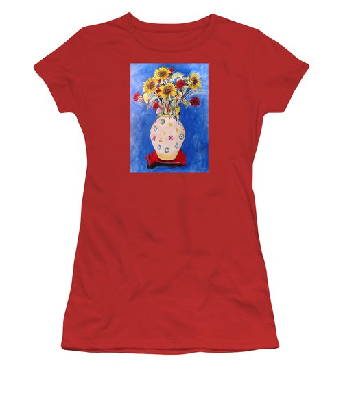 Sunflowers At Home Women's T-Shirt (Junior Cut) by Esther Newman-Cohen