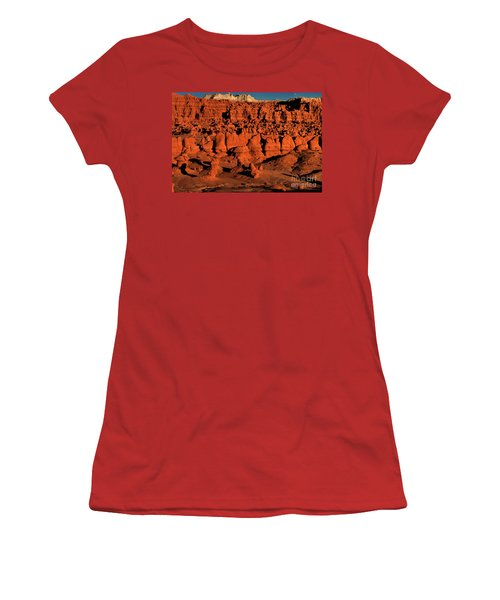 Sunset Light Turns The Hoodoos Blood Red In Goblin Valley State Park Utah Women's T-Shirt (Athletic Fit)