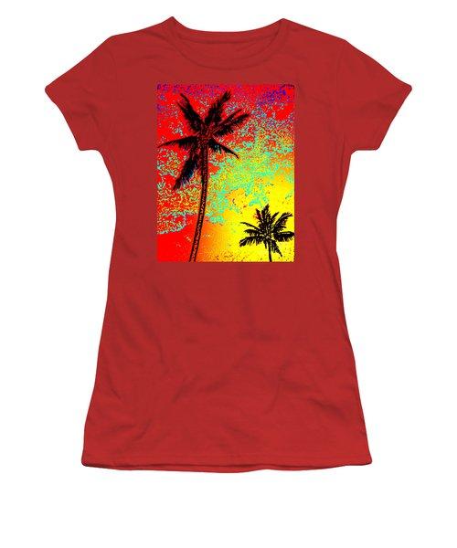 Women's T-Shirt (Junior Cut) featuring the photograph Sunset Palms by David Lawson