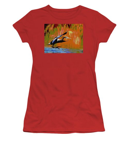 Women's T-Shirt (Junior Cut) featuring the photograph The Great Blue Heron Jumps To Flight by Tom Janca