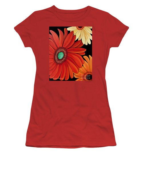 Women's T-Shirt (Junior Cut) featuring the painting Three Gerbera by Barbara McMahon