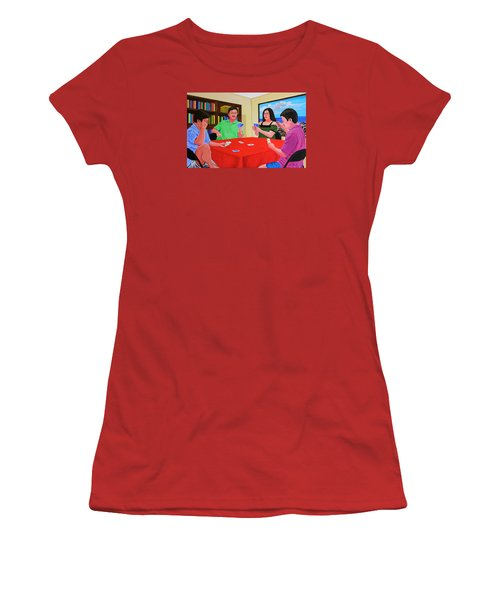 Three Men And A Lady Playing Cards Women's T-Shirt (Athletic Fit)