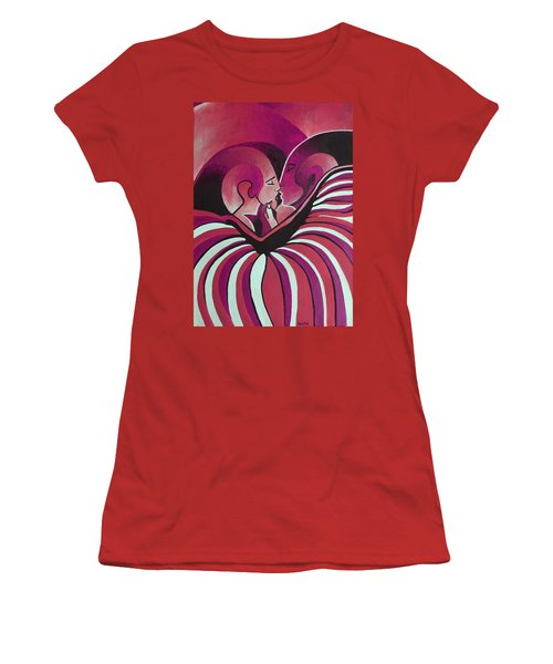 Women's T-Shirt (Junior Cut) featuring the painting Touched By Africa In  Red Hues by Tracey Harrington-Simpson