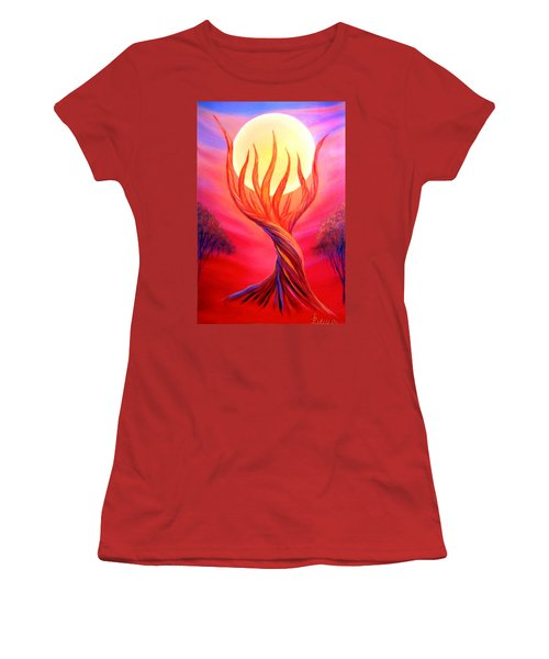 Women's T-Shirt (Junior Cut) featuring the painting Trapped Moon by Lilia D