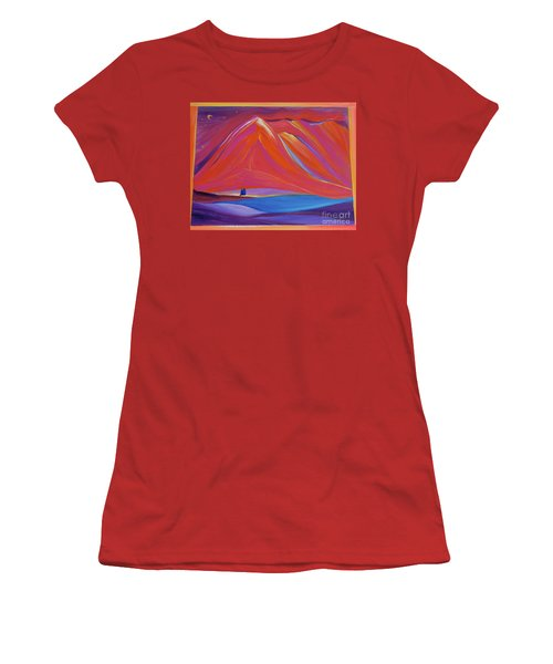Women's T-Shirt (Junior Cut) featuring the painting Travelers Pink Mountains by First Star Art