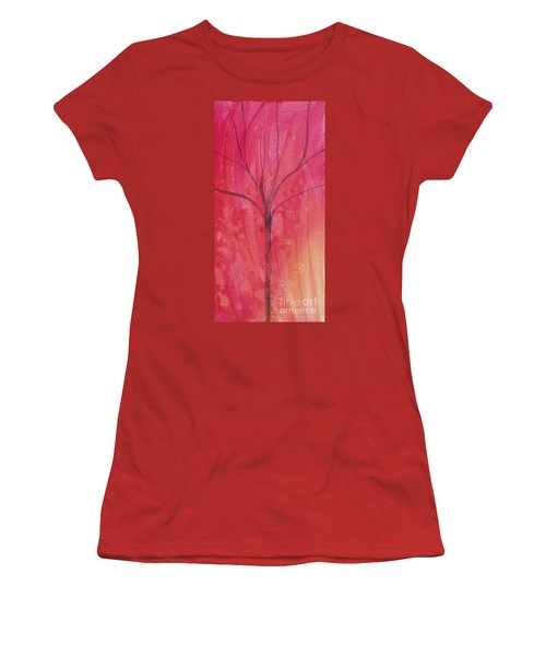Women's T-Shirt (Junior Cut) featuring the painting Tree Of Three Pink by Robin Maria Pedrero