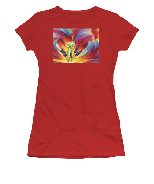 Women's T-Shirt (Junior Cut) featuring the painting Tulip Color Study by Jane Girardot