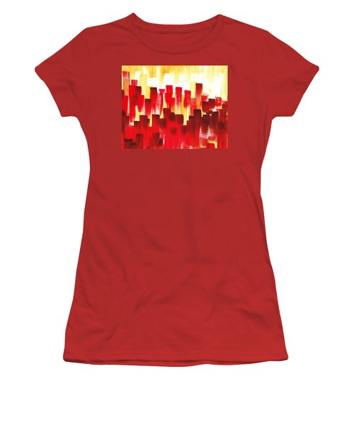 Women's T-Shirt (Junior Cut) featuring the painting Urban Abstract Red City Lights by Irina Sztukowski
