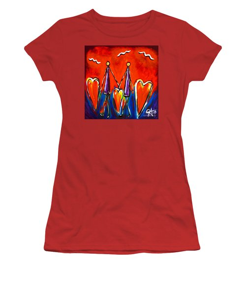 Walk With Me Women's T-Shirt (Junior Cut) by Jackie Carpenter