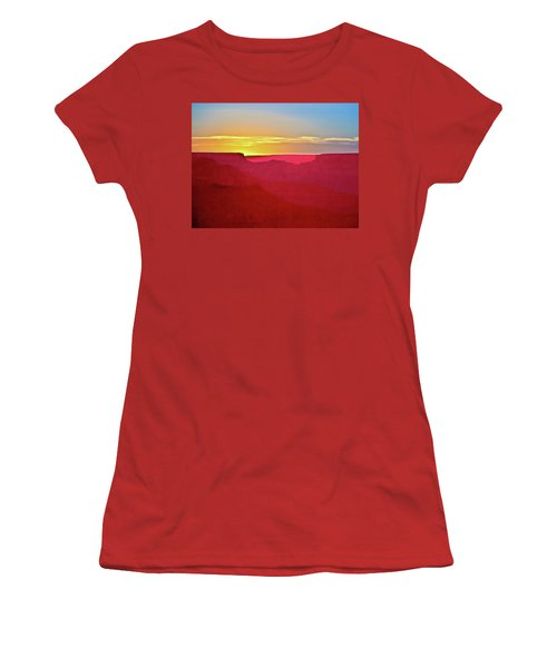 Women's T-Shirt (Junior Cut) featuring the painting   Sunset At Grand Canyon Desert View by Bob and Nadine Johnston