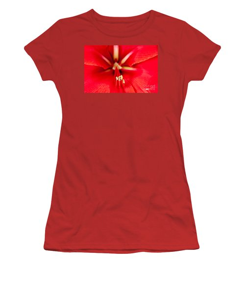 Women's T-Shirt (Junior Cut) featuring the photograph Red Amaryliss by Les Palenik