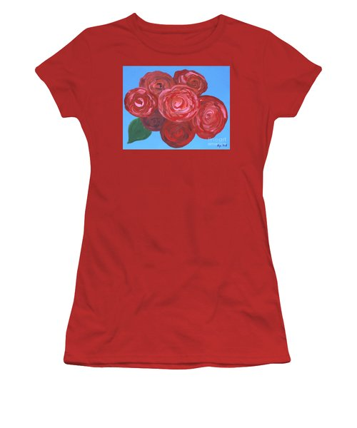 Women's T-Shirt (Junior Cut) featuring the painting Bouquet Of Roses by Alys Caviness-Gober
