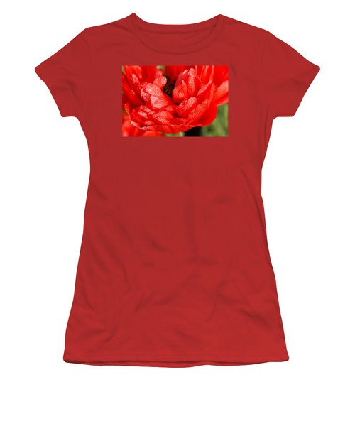 Women's T-Shirt (Junior Cut) featuring the photograph Dewdrops by Fotosas Photography