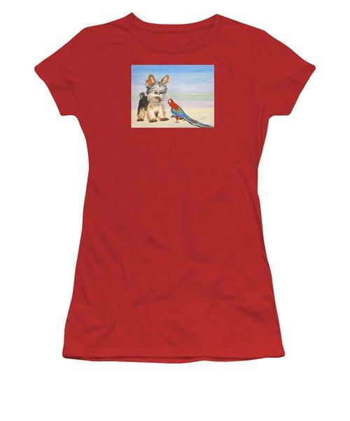 Mouthy Parrot Women's T-Shirt (Junior Cut) by Phyllis Kaltenbach