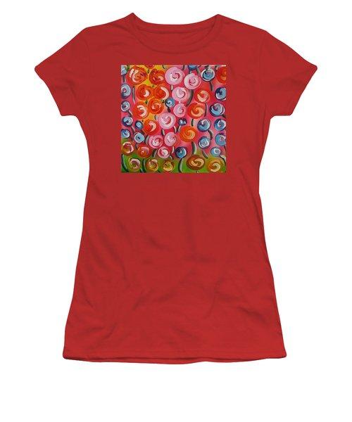 Original Modern Impasto Flowers Painting  Women's T-Shirt (Junior Cut) by Gioia Albano