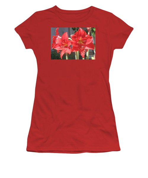 Women's T-Shirt (Junior Cut) featuring the photograph Red Amaryllis by Kume Bryant