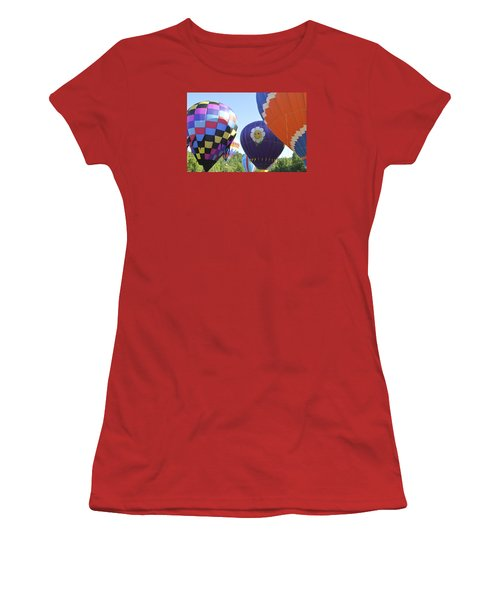 Women's T-Shirt (Junior Cut) featuring the photograph Balloons Waiting For The Weather To Clear by Linda Geiger