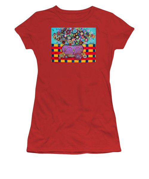 Women's T-Shirt (Junior Cut) featuring the painting Blooms by Pristine Cartera Turkus