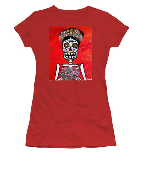 Women's T-Shirt (Junior Cut) featuring the painting Frida Dia De Los Muertos by Pristine Cartera Turkus