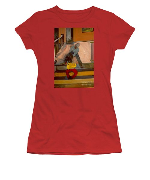 Women's T-Shirt (Junior Cut) featuring the painting Gettin Braids by Daun Soden-Greene