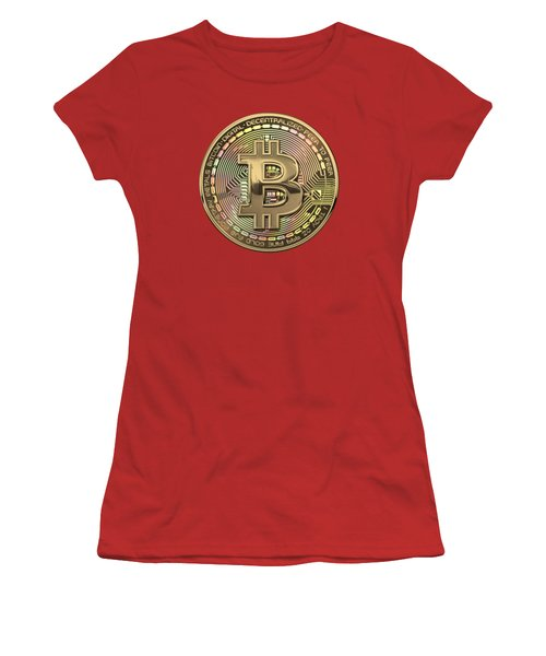 Gold Bitcoin Effigy Over Red Canvas Women's T-Shirt (Athletic Fit)
