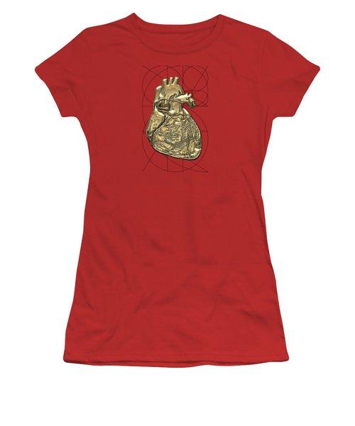 Heart Of Gold - Golden Human Heart On Red Canvas Women's T-Shirt (Junior Cut)