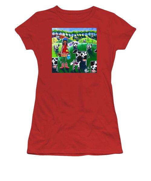 Moo Cow Farm Women's T-Shirt (Junior Cut) by Jackie Carpenter