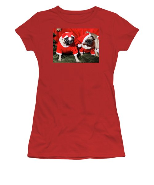 Pugs Dressed As Father Christmas Women's T-Shirt (Athletic Fit)