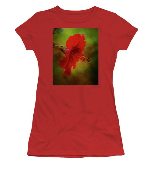 Red Hibiscus Art Women's T-Shirt (Athletic Fit)