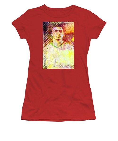 Women's T-Shirt (Junior Cut) featuring the mixed media Ronaldo by Svelby Art