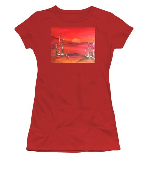 Women's T-Shirt (Junior Cut) featuring the painting Sunrise by Pat Purdy
