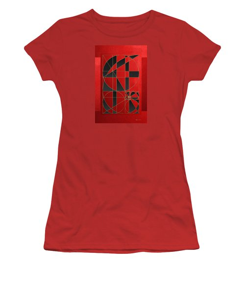 The Alchemy - Divine Proportions - Black On Red Women's T-Shirt (Junior Cut) by Serge Averbukh